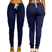 bolsas de pantalones al por mayor-Pantalones multibolsillos para mujer Corbata con cordón Pantalones casuales Moda de verano Tendencia Color sólido Candy Cintura alta Pantalones femeninos L548