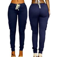 ingrosso i pantaloni dei sacchetti-Pantaloni da donna multi-bag Cravatta con coulisse Pantaloni casual Estate Moda Tendenza Tinta unita Caramella Vita alta Pantaloni femminili L548