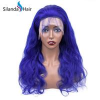 peluca de encaje de gran cuerpo al por mayor-Silanda Hair Alta calidad Gran descuento Blue Body Wave Brasileño Remy Cabello humano Encaje Frontal Pelucas de encaje completo Envío gratis