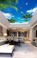 Wholesale blue wall mural resale online - Living Room Bedroom Ceiling Wall Papers Home Decor Blue sky white clouds seabird ceiling mural