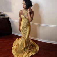 ingrosso vestito di tulle giallo si veste lungo-Sexy giallo pizzo appliqued sirena abiti da ballo africano bordato collo guaina abito da sera lungo formale partito spettacolo abito