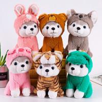 oyuncak köpek köpekleri toptan satış-Karikatür Husky Peluş Köpek Büyük Oyuncak 25CM Huskie Köpek Doll Güzel Hayvan Çocuk Doğum Hediye Corgi Peluş Yastık
