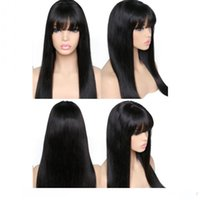 Wholesale black wig white bangs resale online - L Fashion Black Wigs Long Straight Hair Lace Wigss Glueless Heat Resistant Synthetic Lace Front Wigs With Bangs For Black Women