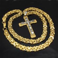 cadeias jesus homens venda por atacado-Colar Pingente Jesus Cruz aço inoxidável Men Womens Jóia bizantina 8,5 milímetros Cadeia Poplular Christian Colar Sliver / cor do ouro