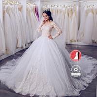 Wholesale real image dubai dresses for sale - Group buy New Dubai Vintage Long Sleeves A line Wedding Dresses Tulle Lace Appliques Vestios De Novia Ball Gown Bridal Chapel Train Custom BA9426
