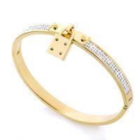 celta de oro rosa al por mayor-Joyería de diseño de lujo de calidad superior de las mujeres pulseras brazalete de acero inoxidable pavimenta plata rosa tono de oro encantos de la joyería del brazalete de bloqueo