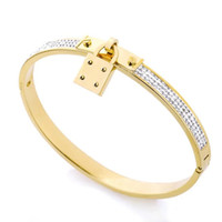 Wholesale silver tones for sale - Group buy Top Quality Luxury Designer Jewelry Women Bracelets Stainless Steel Cuff Bracelet Pave Silver Rose Gold Tone Charms Lock Bangle Jewelry