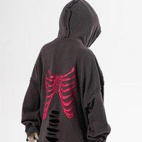 hoody kafatasları toptan satış-20200 Yeni Kış Hip Hop Hoodies Sweatshirt Yıkanmış Kırık Delik Xray Kemik Erkekler Erkekler Kafatasları Hoody