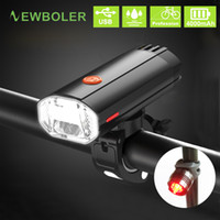 Wholesale bike lights kit resale online - NEWBOLER mAh Lumen Bicycle Light MTB Bike Lamp Front and Back Kit LED Headlight USB Rechargeable For Cycling