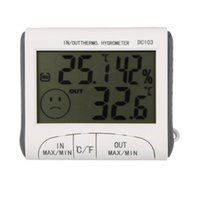 medidor de humedad higrómetro al por mayor-Medidor de humedad de higrómetro de termómetro digital LCD y temperatura cableada con sensor externo blanco