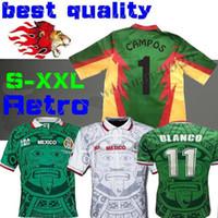 camisa blanco venda por atacado-1998 MÉXICO RETRO BLANCO Hernandez Blanco Campos camisas de futebol uniformes HOME goleiro 1994 camisas de futebol camisa camiseta futbol S-XXL