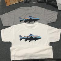 ingrosso corti maschi di estate-Patagonia Shark stampato Mens Casual Designer Tshirts Estate maschio femminile girocollo manica corta Tops tinta unita