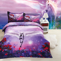 Wholesale horse king size bedding online - 3D Horse Comforter Bedding Sets King Twin Queen Size Family Bed Cover Linen Luxury Duvet Cover Set Quilts Bed Sheets Bedspread