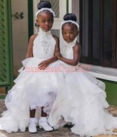 Wholesale fashion wedding dresses baby pink resale online - Fashion High Low Beads Flower Girls Dresses Ball Girls Organza Party Baby Birthday Gowns Toddler Kids Formal Ball First Communion Dress