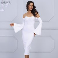 ingrosso vestito da sera nero del manicotto flare-Adyce 2018 New Summer Women Bandage Dress Elegante Celebrity Evening Party Dress Sexy Flare Sleeve Bianco Nero Midi Dress Vestido