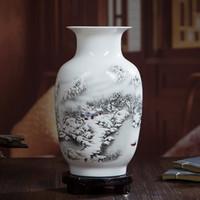 artesanías chinas de arte tradicional al por mayor-Tradicional china de cerámica florero de la vendimia Decoración de mesa Adornos rural pájaros paisaje Modelo animal del arte del arte del florero