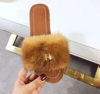 Wholesale rose slippers resale online - new Real fur ladies slippers elegant temperament for spring and summer nobleness elegance Brand choice Rose white pink and sky blue