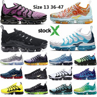 Wholesale sneakers size 47 resale online - 2020 Size All Black Tn Plus Running Shoes Metallic Gold Zebra Active Fuchsia Spirit Teal Cushion Sneakers Vapors Trainers Stock X