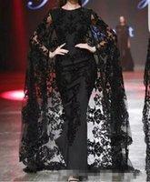 vestido largo de capa al por mayor-Apliques de encaje negro Vestidos para ocasiones árabes de baile de fin de semana en Dubai con Cape 2019 Modest Fashion Crew Vestidos largos de noche de estilo yousef aljasmi