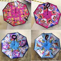 çocuklar karikatür şemsiye toptan satış-Karikatür Ters Şemsiye Unicorn Sürpriz Gril Baskılı Güneş Şemsiyeleri Çocuk Düz-bar Güneşlik Çocuk Plaj Şemsiye Haber B72502