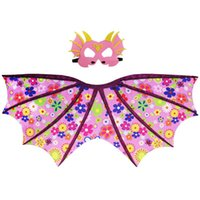 Wholesale girls boys summer dress for sale - Group buy 2pcs set Kids Designer Clothes Girls Boys Cosplay Dinosaur Dress up Costume Outfit Wings Cape with Mask Photography Props CCA11447 est