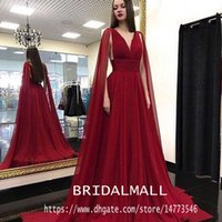 Wholesale red chiffon cape for sale - Group buy New Burgundy Chiffon Long Evening Dresses With Cape Sexy V Neck Formal Party Gowns Elegant Long Bridesmaid Prom Dresses Robes de soirée