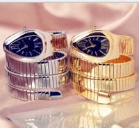часы из розового золота для дам оптовых-2019 черный циферблат браслет змея часы леди серпенти часы алмаз розовое золото женщины горный хрусталь кварцевые часы