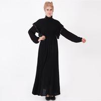 vestes negras para mulheres venda por atacado-Ramadan Elegante Adulto Muçulmano Abaya Árabe Preto Robe Turco Beading Patchwork Vestido Longo Dubai Mulheres Vestido Islâmico 9226