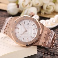 Wholesale dial watch for sale - High quality Automatic Movement Royal Watch Men Black white Dial k Gold Band Male Watch Montre Homme