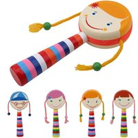 Wholesale baby rattles percussion resale online - Educational Musical Instrument Toy Children Shaking Wooden Rattle Drum Musical Hand Bell Drum Toy Smile Baby Kids Percussion