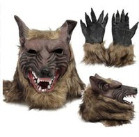 Wholesale play wedding dress resale online - Funny party Cosplay Latex Rubber Wolf Head Hair Mask Gloves Unisex Novelty Animal Full Mask Halloween Role Play Fancy Dress Party Costume