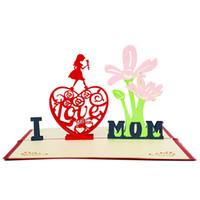 buquês de amor venda por atacado-Cartões 3D Bouquet Cartões para o cartão do dia das mães Cartões dos presentes do dia das mães Eu amo o papai da mamã flores