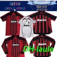 nombre de camiseta de fútbol personalizado al por mayor-2006 2007 2008 retro ac milan camiseta de fútbol Camisetas retro 2006-07 08 CL KAKA / Maldini / Inzaghi / Pirlo / Nesta Jersey camiseta Personalizar nombre