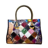 многоцветные сумочки оптовых-2018new Leather Cowhide Fashion Multi-Color Color Matching Trend Handbags Women Handbag Slung Ladies Bag Designer  Big Bags