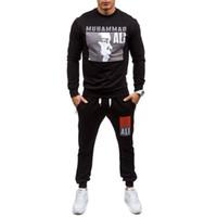 chaquetas de punto para hombre al por mayor-Mens diseñador blanco sudadera con capucha sudadera jersey chaquetas trajes boxeo campeón impresión suéter Wei pantalones traje deportivo