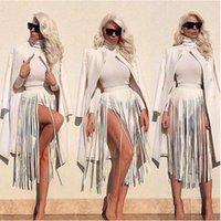 deri bel bandı toptan satış-Bohemian Deri Saçak Püskül Kemer Siyah Beyaz Faux Kemerler 2017 Kadınlar Yüksek Bel Geniş Kemer Uzun Bel Moda Kızlar Pantolon Bant