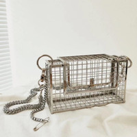 mujer top de pájaro al por mayor-INS Hollow Out Clutch Bag Bird Cage Bolso Tote Metal Cage Girls Top-Handle Bags Monedero Fashion Party Pouch Evening Bag