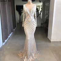 nackte sexy schiere ärmel prom kleider großhandel-Neue Dubai Nude Mermaid Prom Dresses 2019 Lange Ärmel Friesen Quaste Fashion Formal Abendkleider Arabische Kleider