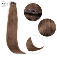 ingrosso biondo estensione dei capelli sintetici diritti-Neitsi 14 '' 3Pcs / Set 75g Clip in su estensioni capelli sintetiche per capelli diritti Light Blonde 550 #