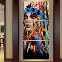 ingrosso graziosi dipinti d'arte-Frame Living Room HD Printed Painting 3 Panel Native American Indian Girl Feathered Home Decor Posters Modern Wall Art Pictures