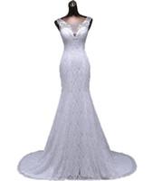 güzel zarif dantel gelinlik toptan satış-Zarif güzel dantel çiçekler mermaid Gelinlik Kolsuz vestidos de noiva robe de mariage gelin elbise