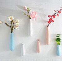 çiçekler için saksı vazolar toptan satış-Hotel Cafe Ev Dekorasyon GGA2980 için Raf Çiçek Tutucu Asma Saksı Vazo Simülasyon Su Damlası Vazo Duvar Asma Seramik Duvar
