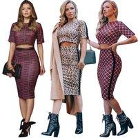seksi moda kalçaları toptan satış-Yeni 2019 mahsul sıkı seksi kalça kapsayan baskı moda rahat takım elbise Baskılı moda iki parçalı etek Özel satış