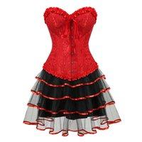 plus größe kostüm korsetts großhandel-Korsettkleid Victorian Corsets Bustiers mit Minirock für Frauen Brocade Sexy Korsett Dessous Top Plus Size Cosplay Kostüm Rot