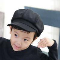 beret criança vermelho venda por atacado-Criança Bebê Hat Beret para Meninos Meninas Crianças Newsboy Boné Casquette Primavera Outono vermelho sólido Grey Black 2-6Y