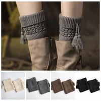 bagaj kapağı ısıtıcıları toptan satış-4styles Bacak Warmers Kış Püskül Bayan Örme Çorap Elastik Sıkı Yumuşak Trim açık Boot Kapak Manşetleri Toperler 2adet / lot FFA2968-2