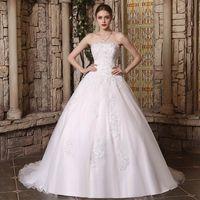 botões de princesa venda por atacado-2019 nova dubai elegante a linha de vestidos de casamento strapless lace apliques de contas vestidos de novia princesa vestidos de noiva com botões