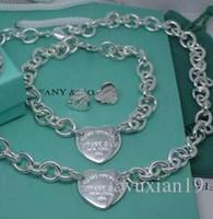 conjuntos de jóias venda por atacado-Alta Qualidade design de Celebridades Carta 925 Anel De Prata pulseira Brincos colar Talheres de Metal Em Forma de Coração Jóias Conjunto 3 pc Com Caixa