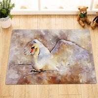 Wholesale paintings swans for sale - Group buy Swan Watercolor Painting Bathroom mat right angle non slip door pad children X60CM