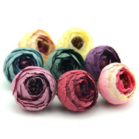Wholesale artificial red white roses resale online - 50PCS CM Silk Artificial Tea Rose Bud Flowers Head for Wedding Decoration DIY Wreath Gift Box Scrapbooking Craft Fake Flower Heads